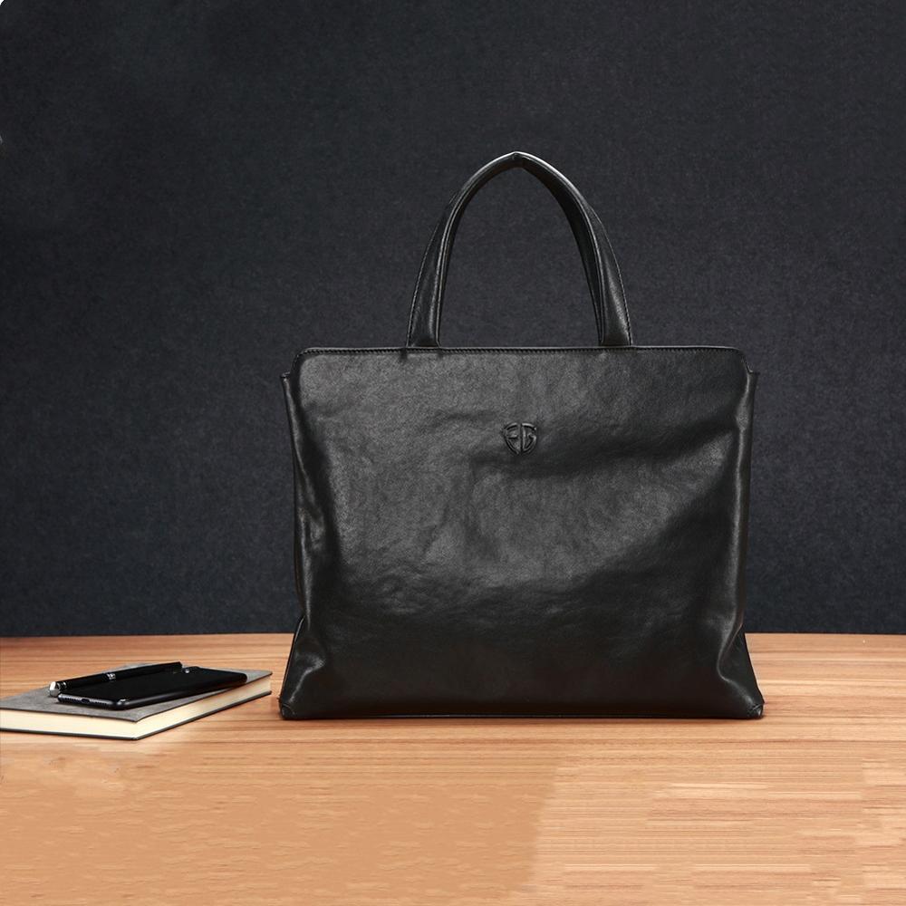 Genuine Leather Men's Handbag Slim Laptop Briefcase Computer Bag 15.6 Inch And 14 Inch Business Briefcases For Man Black FEGER