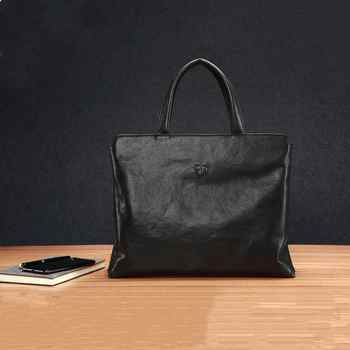 Genuine Leather Men\'s Handbag Slim Laptop Briefcase Computer Bag 15.6 inch and 14 inch Business Briefcases for Man Black FEGER - Category 🛒 Luggage & Bags