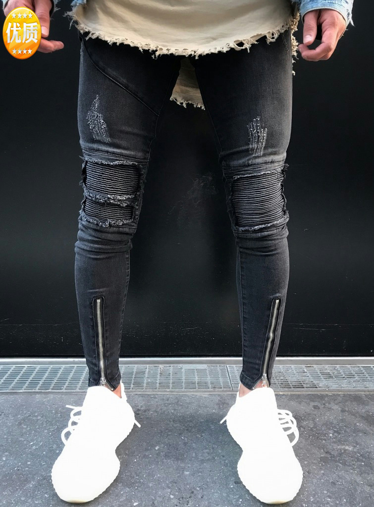 New Style Jeans Men's Europe And America MEN'S Jeans Gray Snowflake With Holes Locomotive Zhe Zhou Ku Trend Men