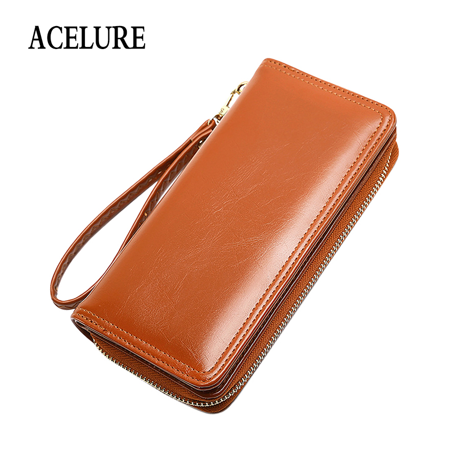 ACELURE Solid Color Long Oil Wax Wallets + Card Holder Simple Style Students Purse All-match Zipper & Hasp Pu Leather Wallet