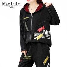 Max lulu 2019 outono moda coreano senhoras do punk topos harem calças das mulheres duas peças conjunto com capuz hoodies oversized agasalho vintage