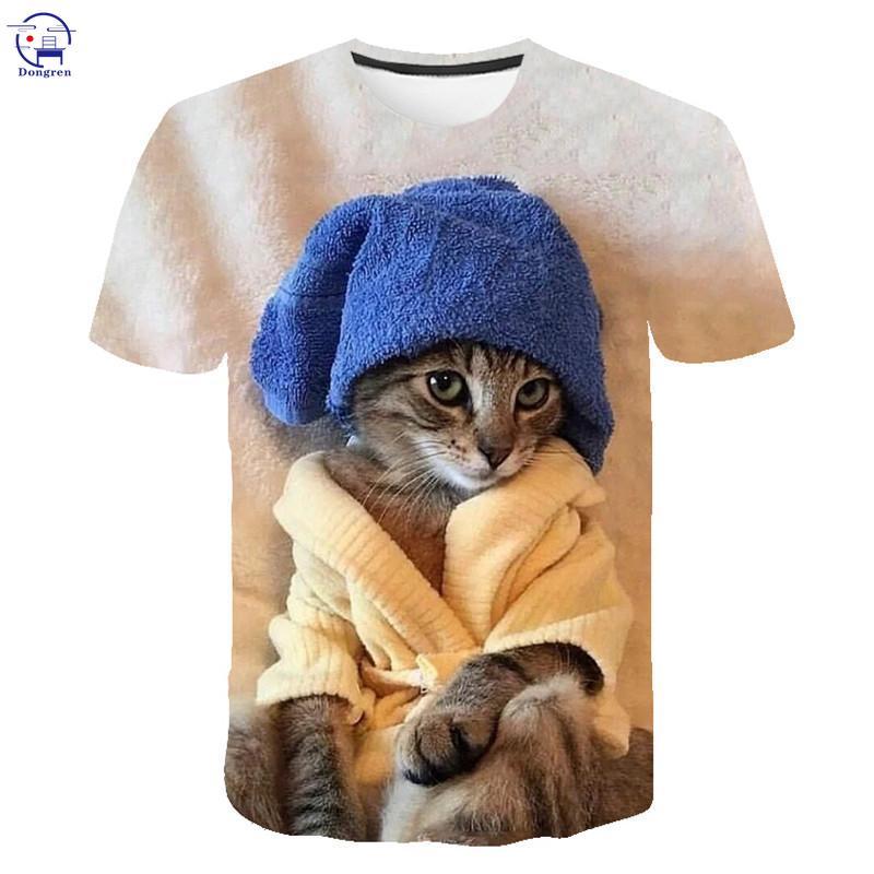 2021 футболка для мужчин и женщин с изображением котенка 3d футболка Летняя футболка с короткими рукавами футболка s для мужчин и женщин размер...