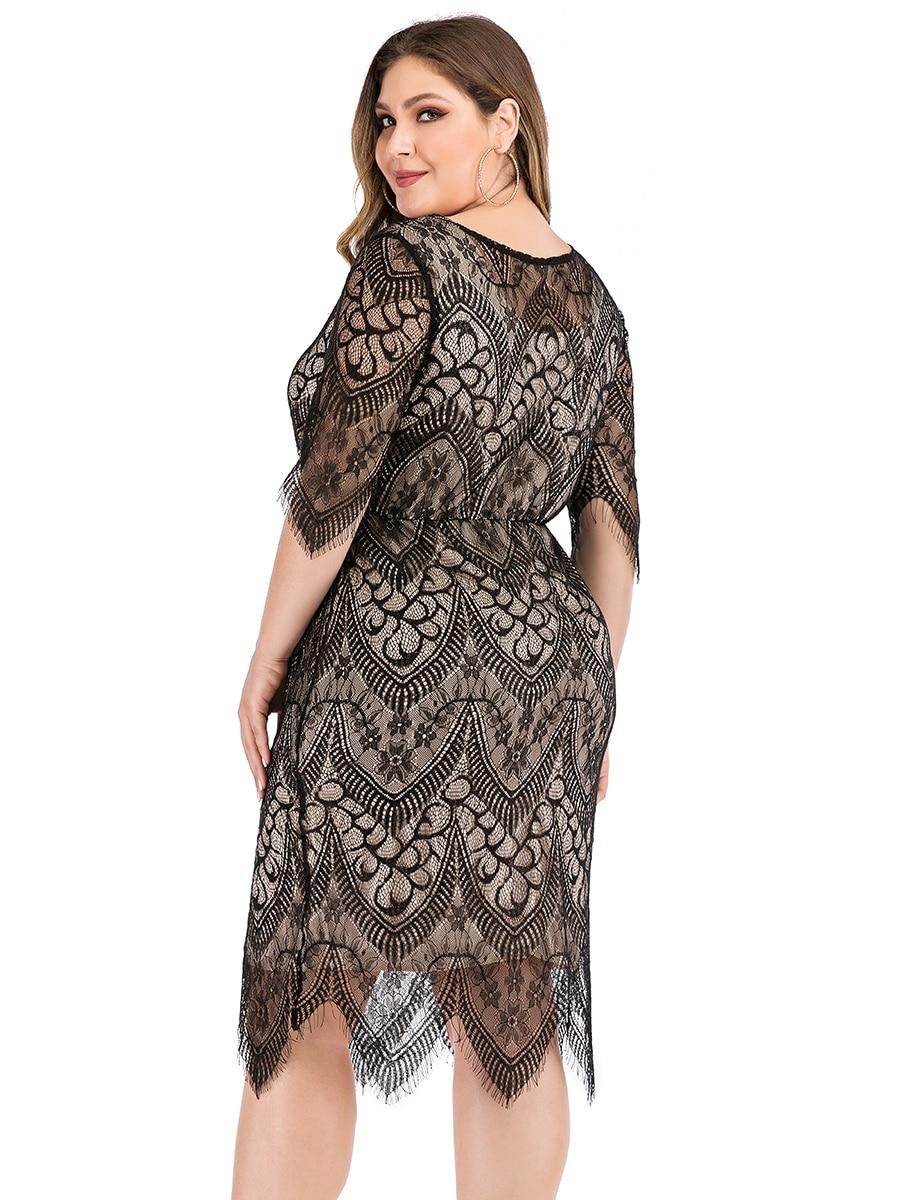 Elegant O Neck Half Sleeve Lace Floral Midi Dress Plus Size 6
