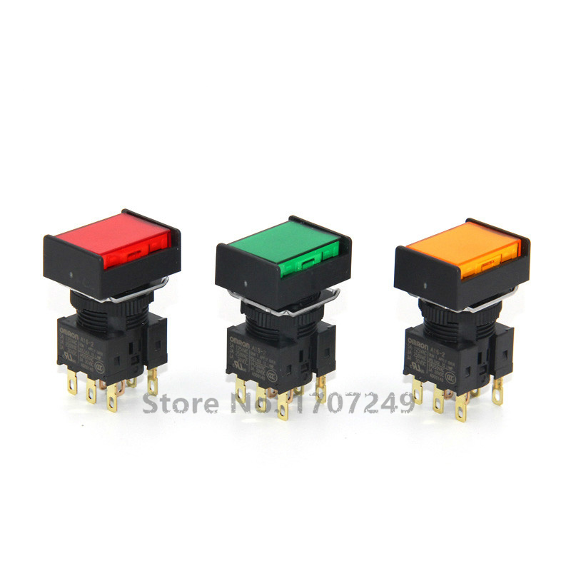 100% nouveau original Omron rectangulaire bouton interrupteur A16L-JRM-24D-2 avec lampe 24V et pas de verrouillage automatique réinitialiser A16-2