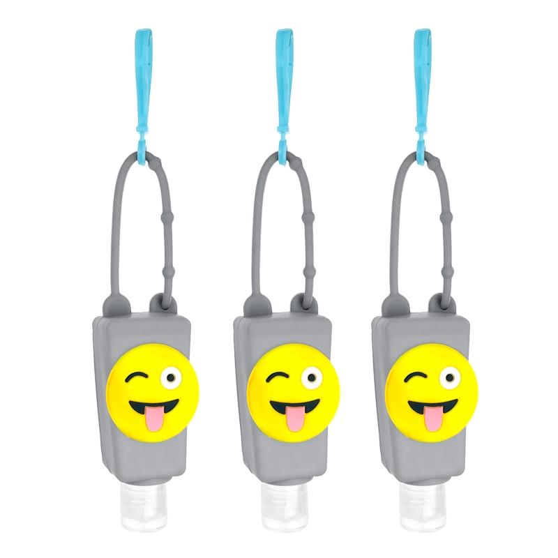 30ML Cartoon Silicone Case Portable Hand Sanitizer PET Bottle Keychain Charm Child Safety Antibacterial Gel Trapezoid Bottle