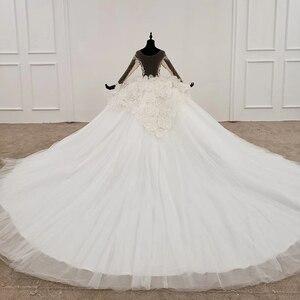 Image 2 - Свадебное платье HTL1180, арабские Свадебные платья es, Дубай, длинные рукава, кружевные аппликации, блестки, иллюзия, маленькая спина, свадебное платье