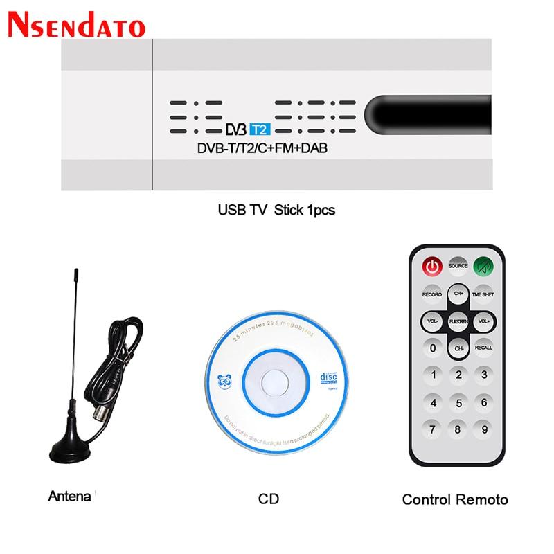 Digital Satellite DVB-T2/T DVB-C USB 2.0 TV Tuner Stick HDTV Receiver with Antenna Remote Control USB TV Dongle for Windows PC - ANKUX Tech Co., Ltd