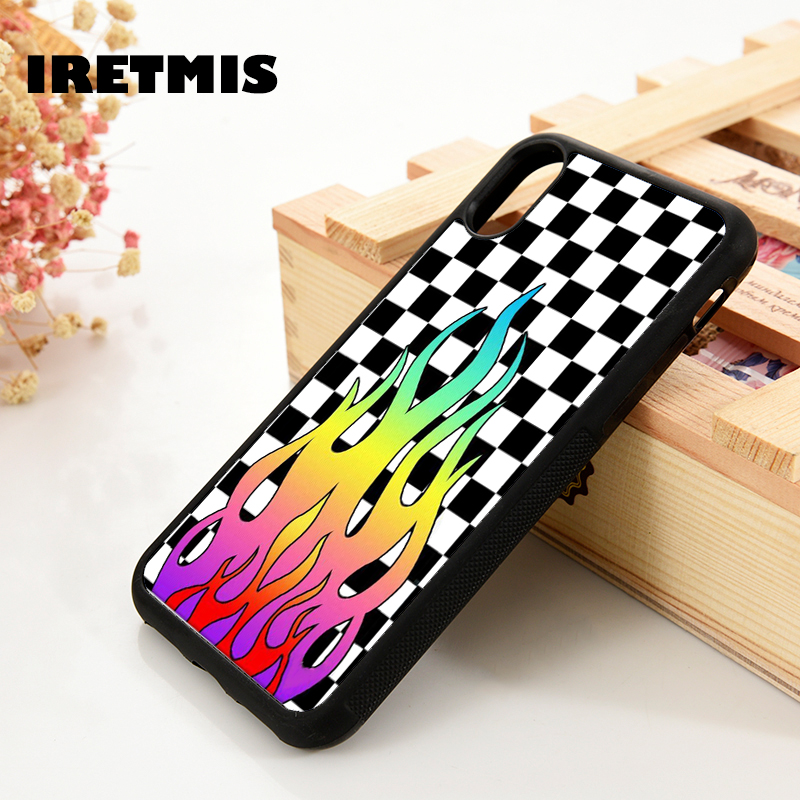 Iretmis 5 5S SE 6 6S Soft Silicone Phone Case Cover For IPhone 7 8 Plus X Xs 11 Pro Max XR Black White Checkers Rainbow Flames