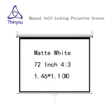 Thinyou 72 inch 4:3 Matte White Manual self-locking Projector Screen Pull Down Wall Mount For 3D Cinema School