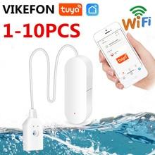 1-10 pces wifi inteligente tuya sensor de vazamento de água tuya casa alarme de água compatível com tuyasmart/smart life app fácil instalação