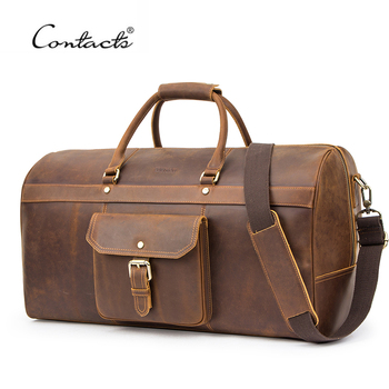 CONTACT'S Multifunction Large Capacity Men Travel Bag Crazy Horse Leather Duffle Bags Vintage Shoulder Handbags Tote Luggage Bag high capacity genuine leather travel bag fashion casual handbags shoulder bag men s duffle travel bags