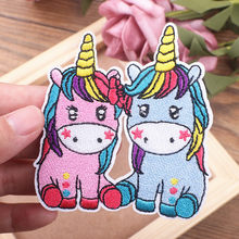 New Rainbow Unicorn Iron On Patches Magic Unicorn Accessories Embroidered Patches For Clothes Applique Kids Dress T-shirts DIY(China)