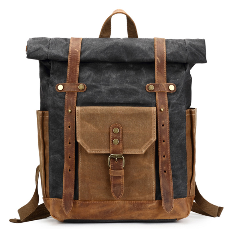 Men's Backpack Waterproof Bag Retro Oil Wax Large Capacity Outdoor Canvas Bag Backpack Computer Bag