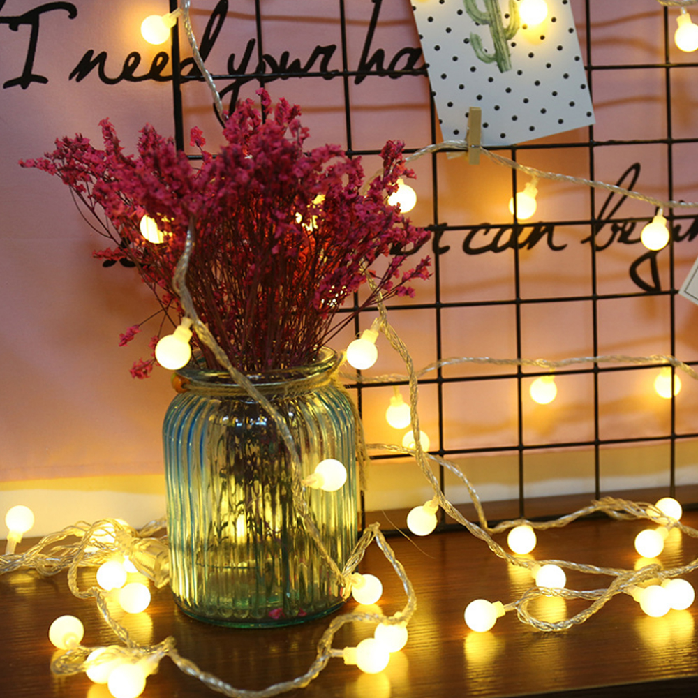 Battery Lamp string Cherry Balls LED Fairy String Lights Operated Wedding Christmas Outdoor Room Garland Birthday Decoration