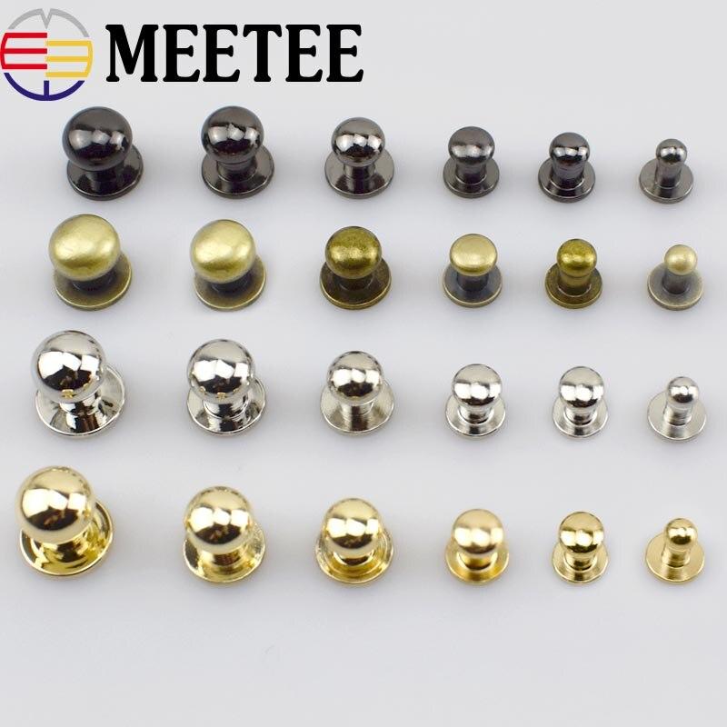 Tornillos de cabeza redonda para manicura, hebilla de Metal, botón, billetera de remaches, cierre de cinturón, accesorios para bolsos artesanales de cuero, DIY, 100 Uds.