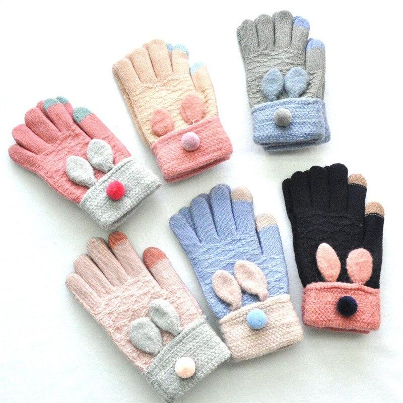 Bunny Ears Adult Mittens For Women Winter Warm Knitted Gloves Wapiti Animails Ear Thickenin Screen Cute Gloves Rekawiczki CD