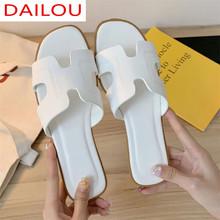 2021 Summer Fashion biały pantofel kobiety sandały na płaskim obcasie pantofel dorywczo klapki plażowe pantofel damski do wewnątrz i na zewnątrz klapki tanie tanio DAILOU podstawowe CN (pochodzenie) Płaskie z RUBBER Niska (1 cm-3 cm) LEISURE Dobrze pasuje do rozmiaru wybierz swój normalny rozmiar
