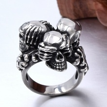 New Fashion stainless steel gothic punk skull cross ring men's biker ring jewelry bobo bird wooden men watches relogio masculino top brand luxury stylish chronograph military watch great gift for man oem