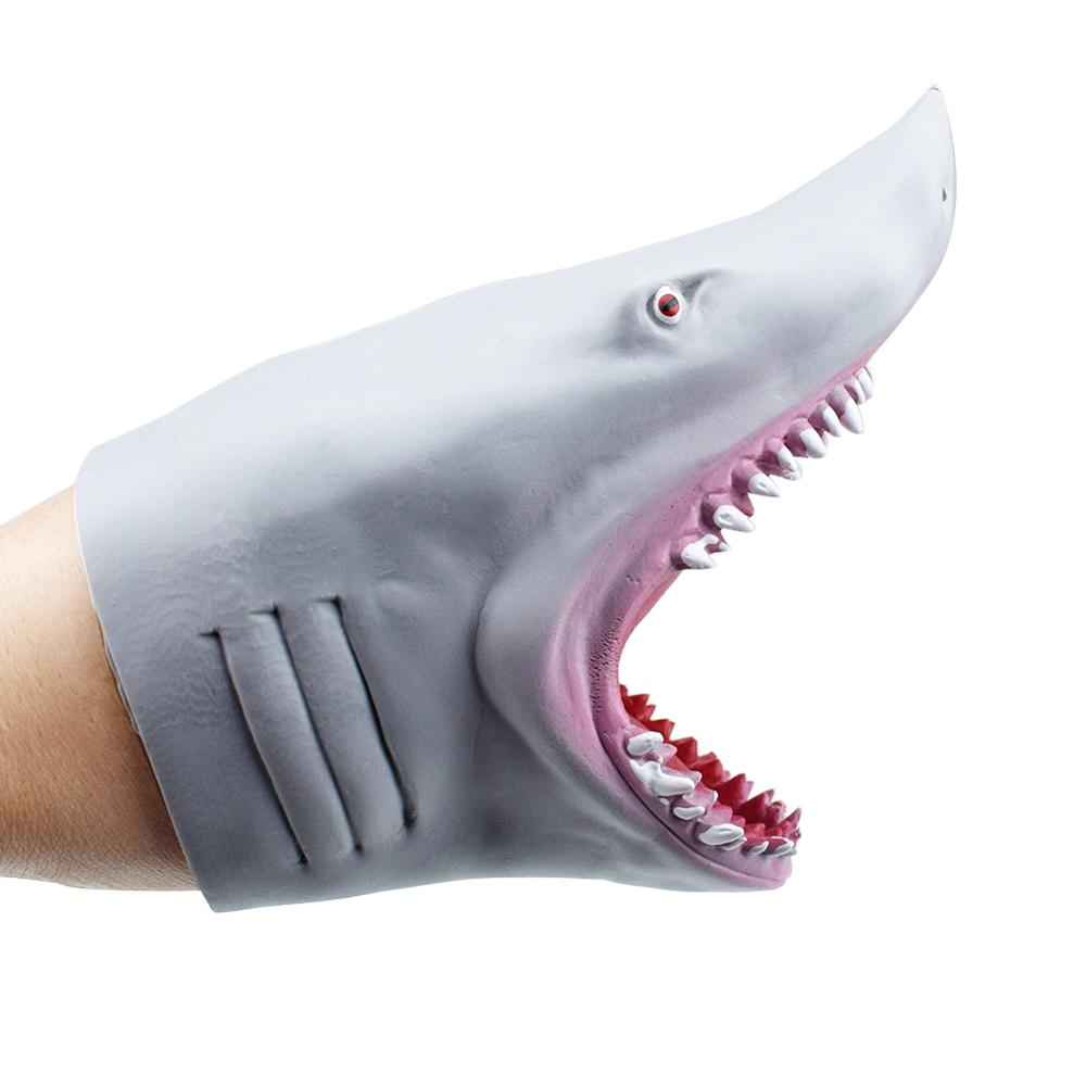 Plastic Shark Hand Puppet for Story TPR Animal Head Gloves Kids Toys Gift Animal Head Figure Vividly Kids Toy Model Gifts
