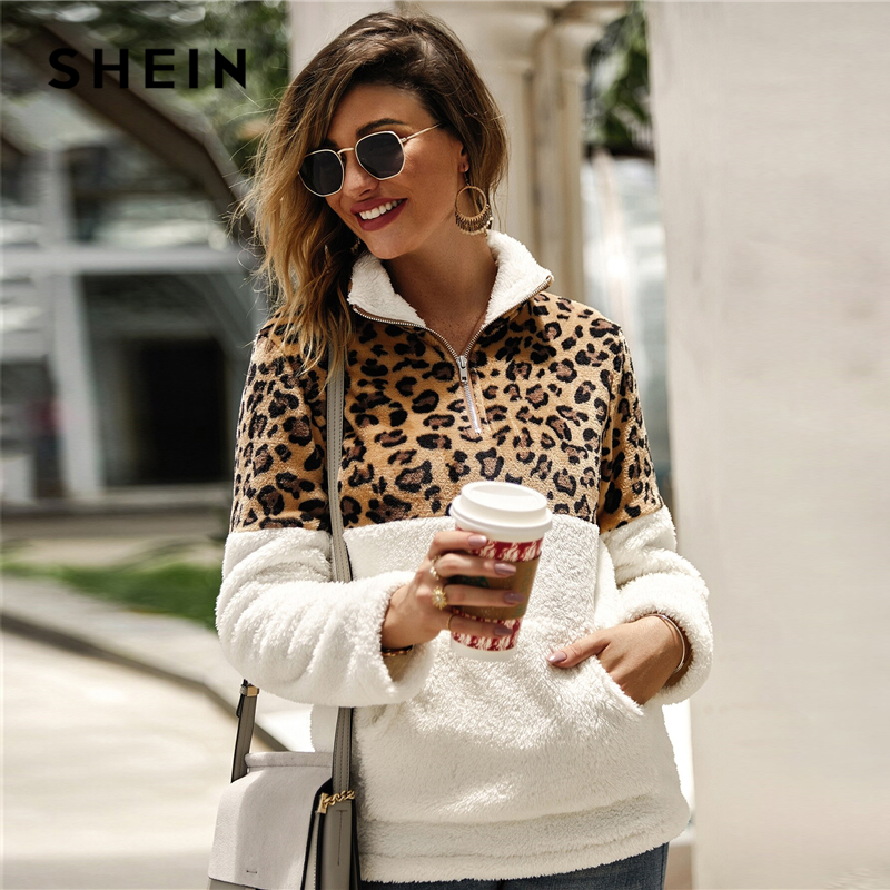 SHEIN Flannel Contrast Leopard Quarter Zipper Teddy Sweatshirt Pullover Women Autumn Winter Stand Collar Casual Sweatshirts
