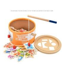 Toywoo деревянные игрушки детское ведро рыбалка магнитный Океанская