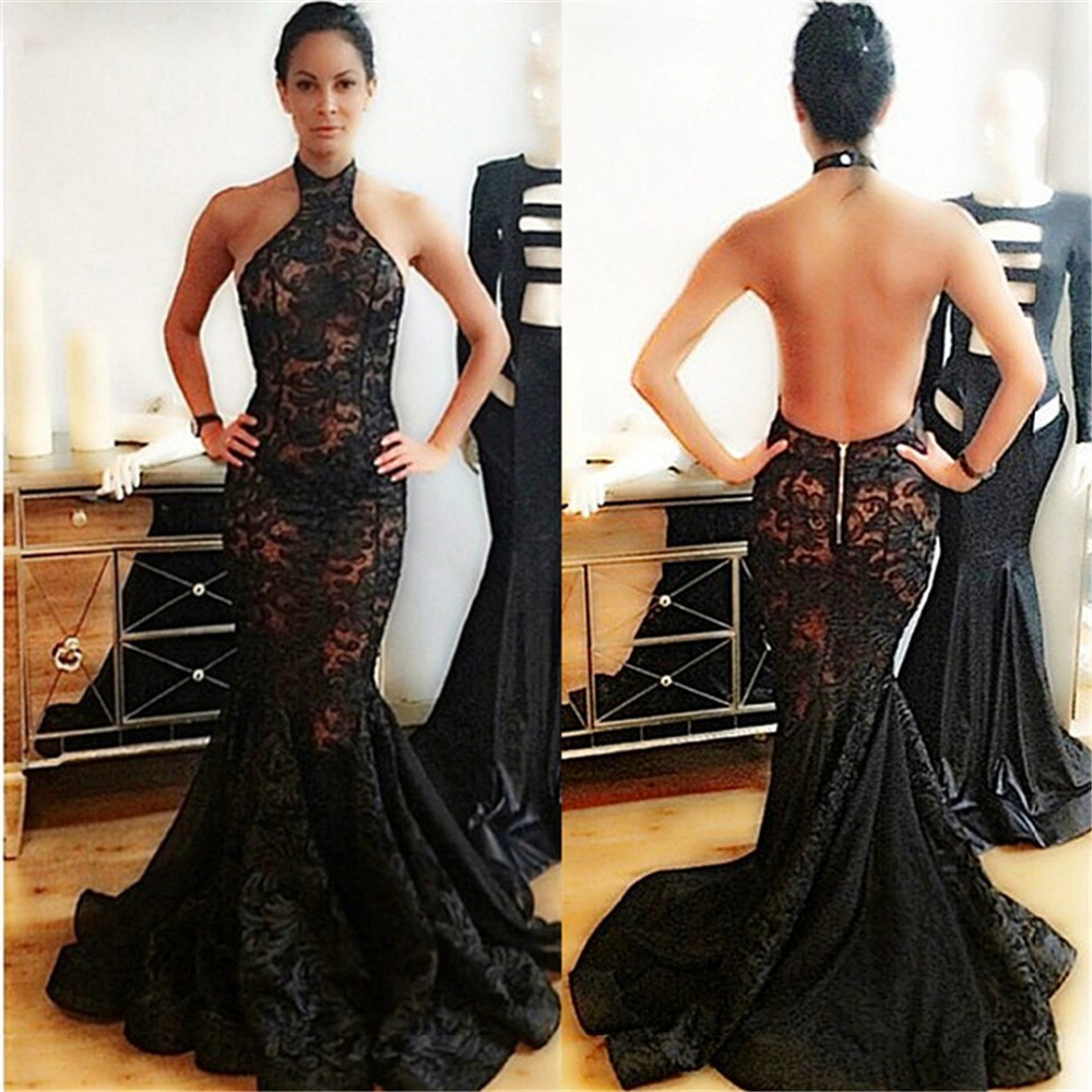Long Evening Halter Sleeveless Floor Length Lace Mermaid Prom Gown 2018 Open Back Robe De Soiree Mother Of The Bride Dresses
