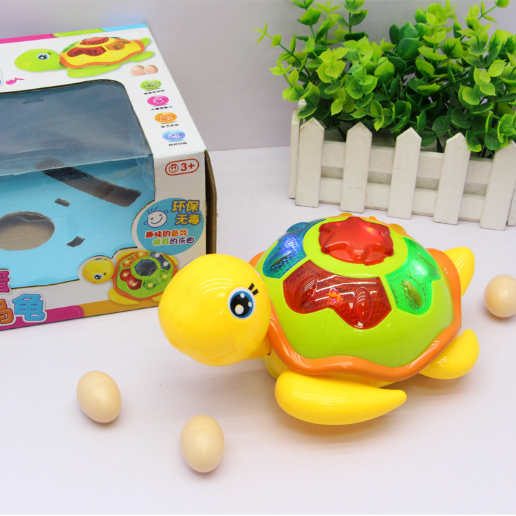 Hot Sales 0606a Hot Selling Electric Universal Rotation Lay Eggs Of Little Turtle Light Music Children'S Educational