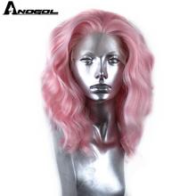 Anogol High Temperature Fiber Side Part Short Natural Wavy Pink Bob Synthetic La