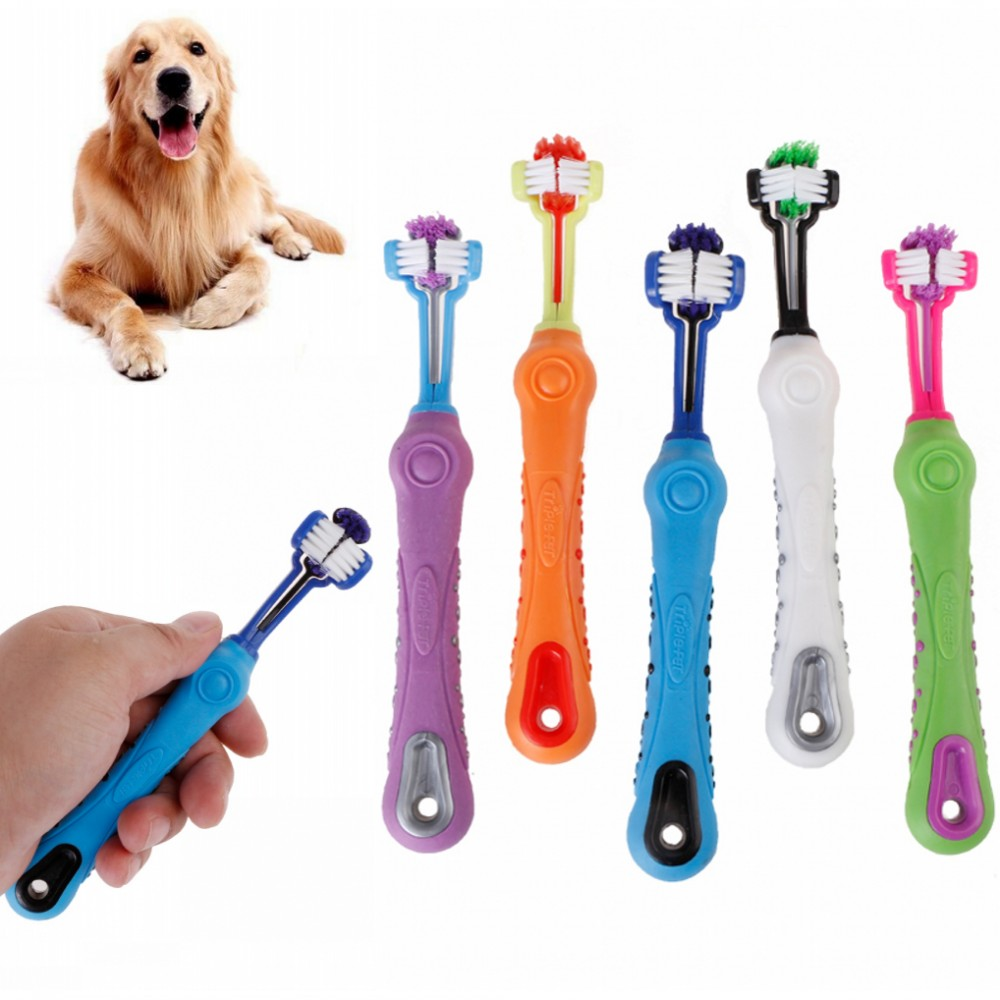 New Three Sided Pet Toothbrush Dog Brush Addition Bad Breath Tartar Teeth Care Dogs Cats Cleaning Mouth Pet Cleaning Supplies
