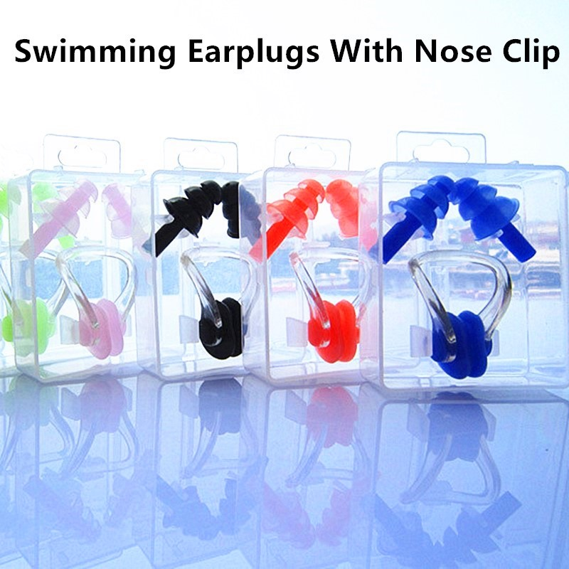 1Set Waterproof Silicone Swimming Earplugs And Nose Clip For Adult Swimmers Children Diving Swimming Accessories Sport Use