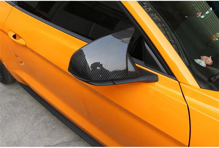 Carbon Fiber Rearview Mirror Cover Trim Protect Shell Cap Cover For Ford <font><b>Mustang</b></font> <font><b>2015</b></font> 2016 2017 2018 <font><b>2019</b></font> image