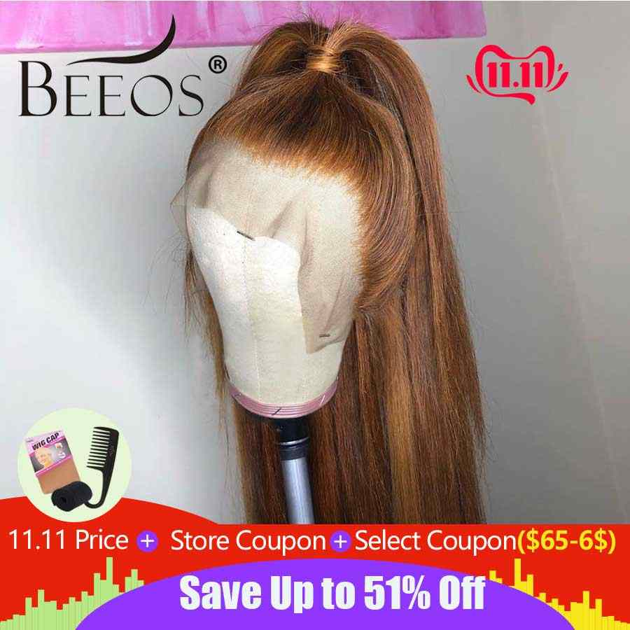 Beeos Brazilian Remy Hair 13*6 Deep Part Lace Front Wig Straight Honey Blonde Color Pre Plucked Bleached Knots Lace Wigs