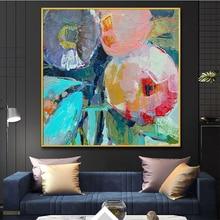 Pintura moderna grande de oleo flores, lienzo, arte de pared, pintura al óleo sobre lienzo abstracta, cuadro decorativo para decoración de sala de estar