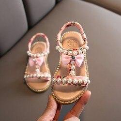 Obuwie dziecięce dla dziewczynek nowe letnie klapki dziecięce perły frezowanie kliny plażowe sandały Enfants School płaski but dla dziecka EU 21-30