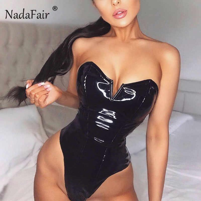 Nadaffair pu sexy bodysuit magro pele de couro sem alças preto bodysuit feminino com zíper corpo para a mulher macacão