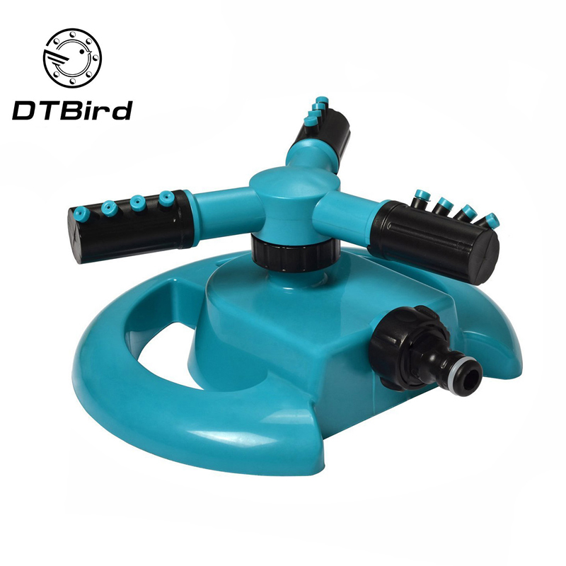 Garden Water Sprinklers Automatic Watering Grass Lawn 360 Degree Fully 3 Nozzle Circle Rotating Irrigation Spray System