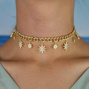 Image 5 - 32 + 8 centimetri hip hop bling Gold filled delle donne del choker Miami Cuban link catena con starburst stella di fascino del choker collane
