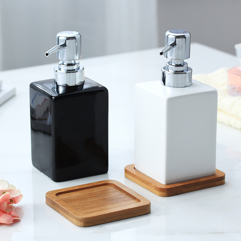 320ml Ceramic Emulsion Dispenser White Black Bottle Hotel Shower Gel Hand Sanitizer Bottle With Bamboo Tray For Kitchen