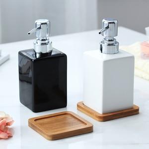 Image 1 - 320ml Ceramic Emulsion Dispenser White Black Bottle Hotel Shower Gel Hand Sanitizer Bottle with Bamboo Tray for Kitchen