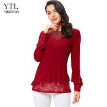 YTL elegante blusa de mujer otoño rojo cuello redondo decoración de diamante manga de llamarada camisa Casual para la boda de talla grande 7XL 8XL H270