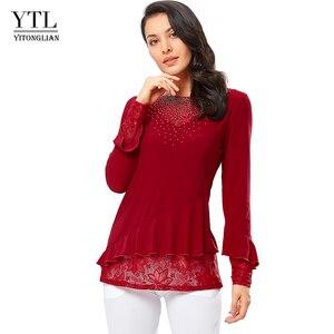 Image 1 - YTL elegante blusa de mujer otoño rojo cuello redondo decoración de diamante manga de llamarada camisa Casual para la boda de talla grande 7XL 8XL H270