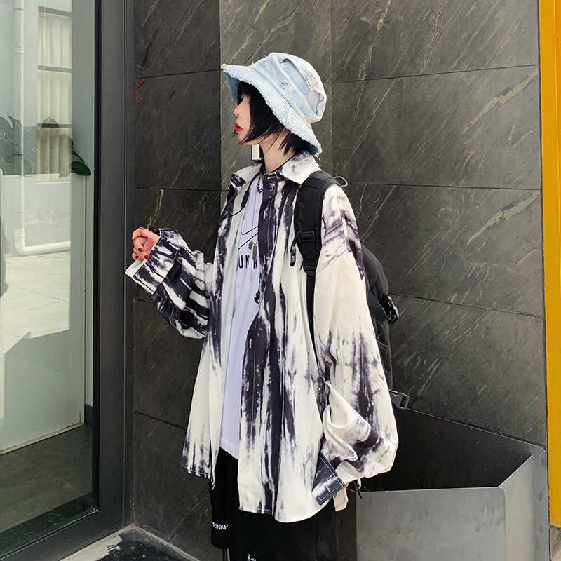 Женские летние рубашки Kawaii Ulzzang, милая Темно-Черная Свободная рубашка с принтом и длинным рукавом, Женская милая Туника Harajuku, Женский Топ