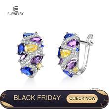 E autentyczne 925 srebro kolczyki dla kobiet Flash CZ cyrkon Ear Studs 4 kolory kolczyki Huggie Wedding Trendy biżuteria nowy