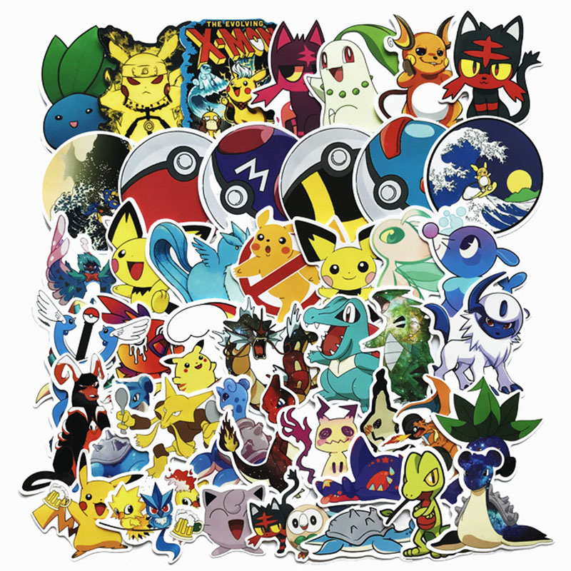 45PCS Pokemoner Go Stickers Cartoon Anime  Pikachu Waterproof For Scrapbook Laptop Skateboard Guitar Phone Classic Sticker Toy