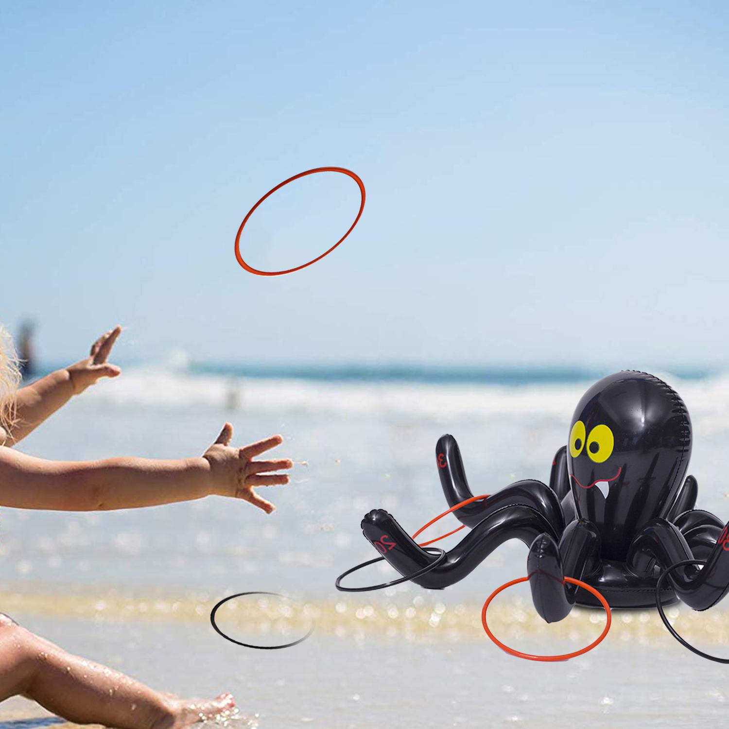 Portable Inflatable Spider Ring Toss Game Toy With 4PCS Rings For Kids Adults Halloween Home Garden School Beach Party Supplies