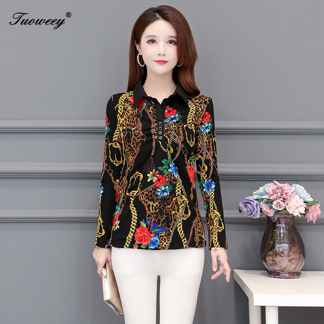 2020 Autumn spring Floral lace slim Blouse Women elegant Long Sleeve Blouses Casual Shirt ladies Plus Size 5XL printed Tops 2