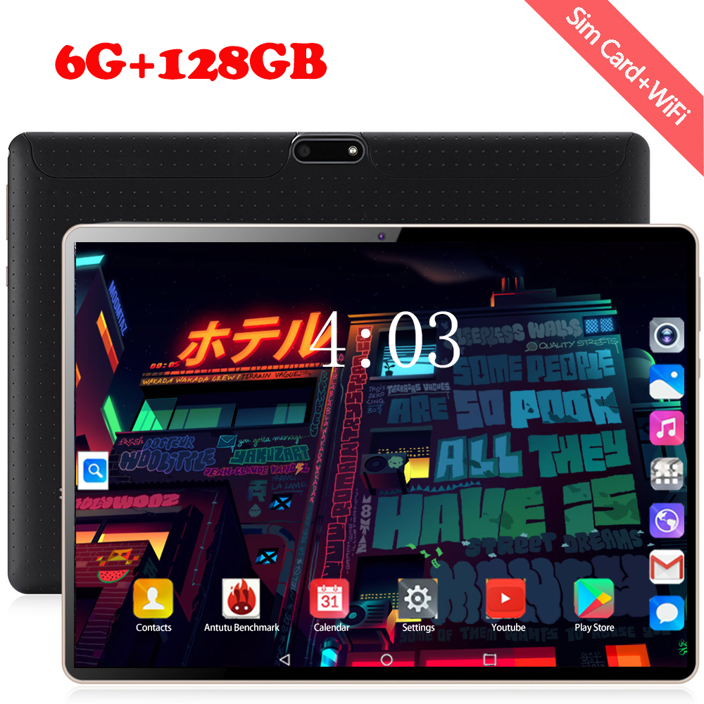 4G MTK6753 10.1 Inch Tablet PC Android 8.0 6GB RAM 128GB ROM 8 Octa Cores Dual Cameras 5.0MP 1280 800 IPS Phone Tablets Computer