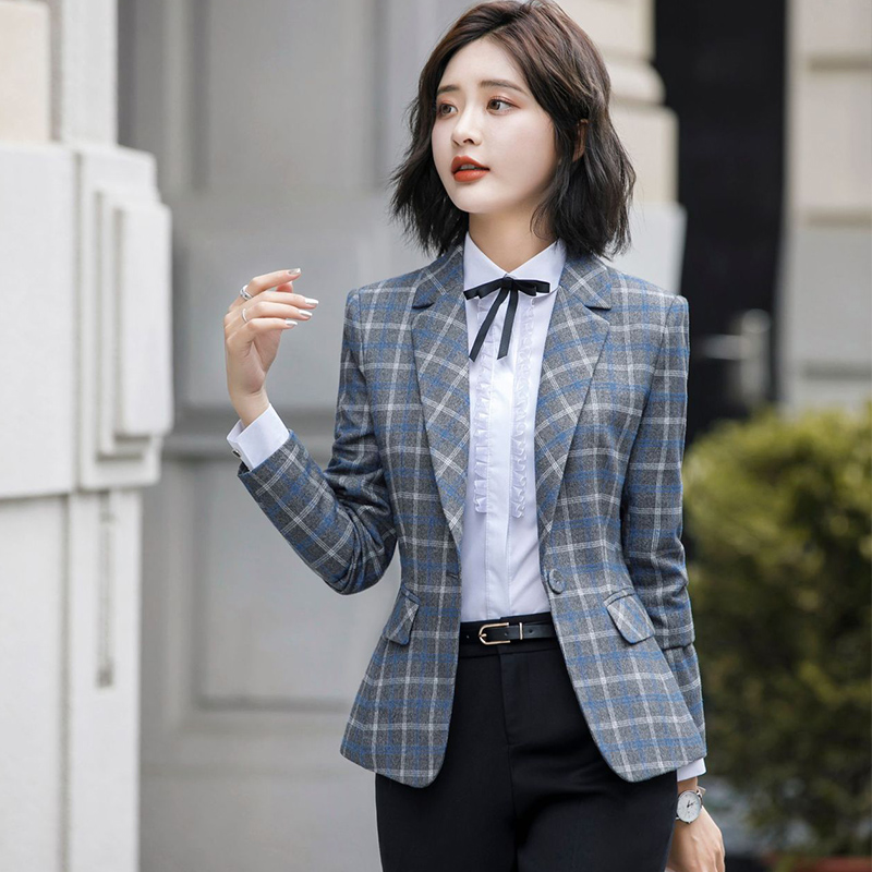 Fanco Soft And Comfortable High-quality Plaid Jacket With Pocket Office Lady Casual Blazer Women Wear Single Button Coat