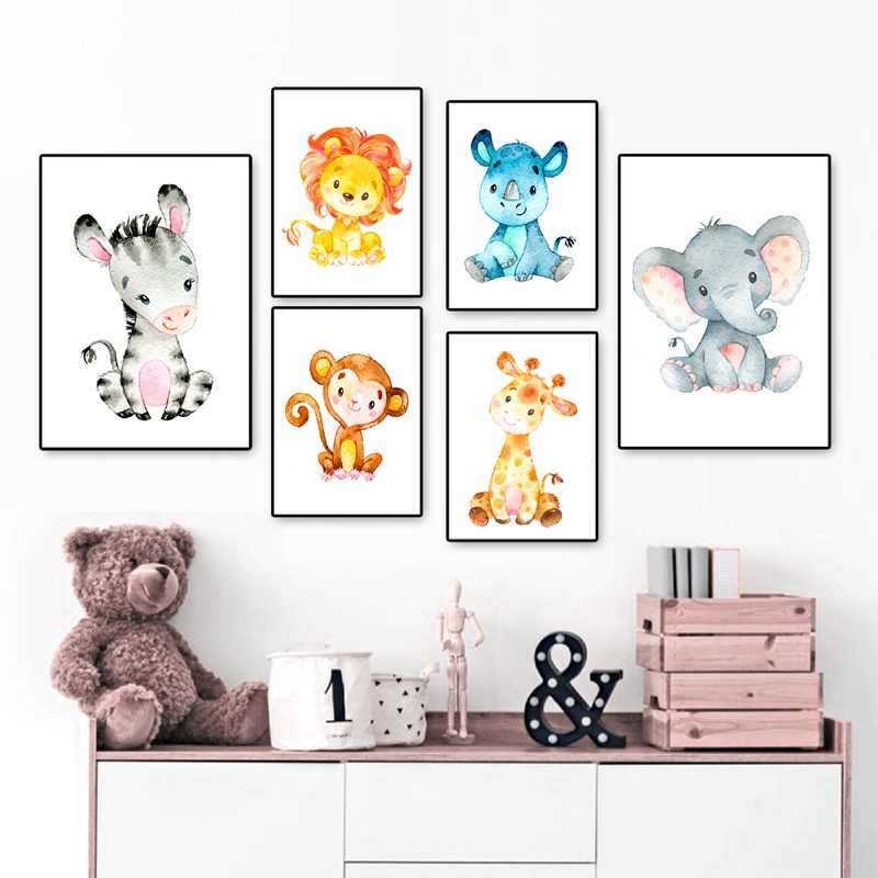 Nursery Decor Jungle Baby Animals Nordic Posters and Prints Watercolor Art Canvas Painting Pictures Kids Room Wall Decoration