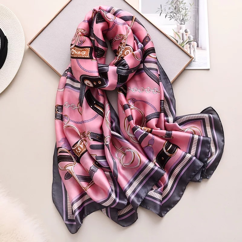 Classic New Spring Summer Silk Scarf Women Office Large Shawls Fashion Lady Hair Neck Beach Hijabs Foulard Muffler Wrap Foulard